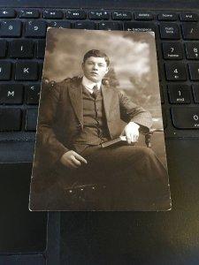 Antique Photo Postcard RPPC-  Hemes Studio NY Man w/Book