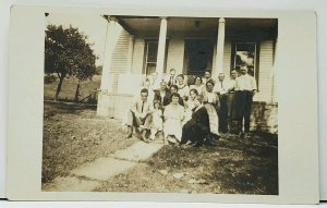 RPPC Group of People Squeezing on the Porch Steps c1907 Postcard H13