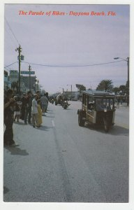 P1986, vintage postcard parade of bikes motorcycles bike week daytona beach fla