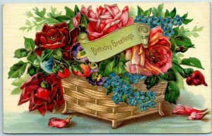 Vintage BIRTHDAY Greetings Postcard Flower Basket Red & Pink Roses 1909 Cancel