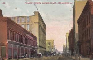 Iowa Des Moines Walnut Street Looking East 1910