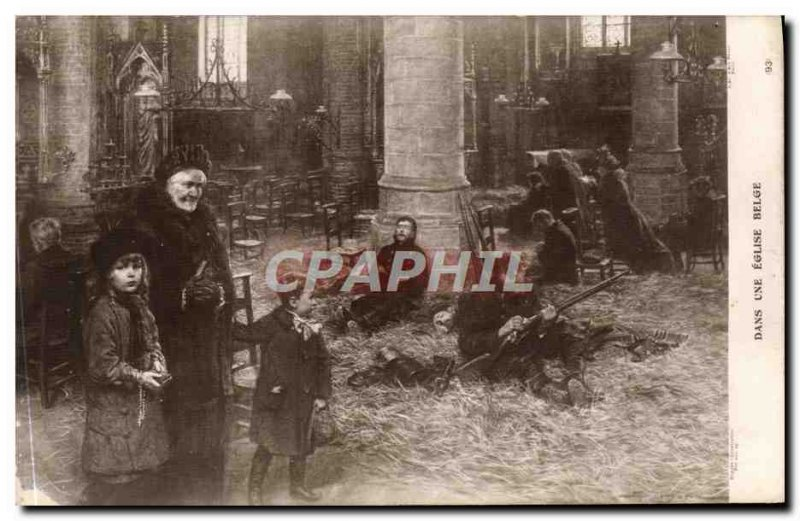 Old Postcard A Church in Belgian Army