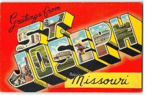ST. JOSEPH, MISSOURI 1943 Large Letter Linene Postcard - Pony Express Monument