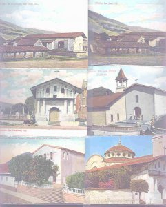 pc9000 postcard California Missions SIX all MOBSC