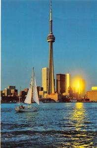 Canada Ontario Toronto CN Tower Yacht Sunset