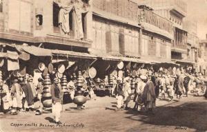 Pechawar City Pakistan Copper Smiths Bazaar Street Scene Antique Postcard J72533