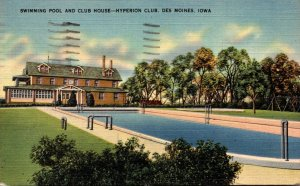 Iowa Des Moines Hyperion Club Swimming Pool and Club House 1944