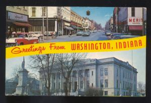 WASHINGTON INDIANA DOWNTOWN STREET SCENE 1950's CARS POSTCARD 1955 FORD