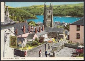 Cornwall Postcard - Church and Town, Fowey   A4931