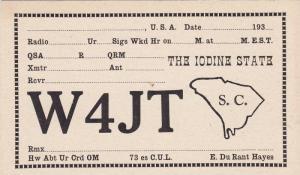 QSL Postcard , South Carolina , 1930s
