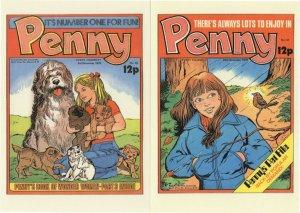 Penny Comic 1970s Pet File Garden Bird Dogs 2x Postcard s