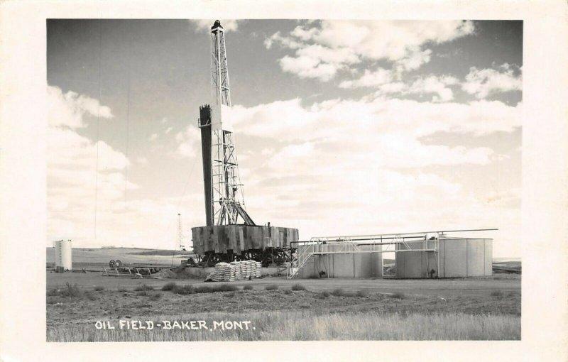 LP32   Baker  Montana Postcard Oil Field RPPC