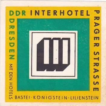 GERMANY DDR DRESDEN INTERHOTEL PRAGER STRASSE VINTAGE LUGGAGE LABEL