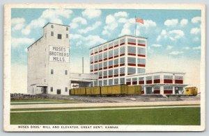 Great Bend Kansas~Moses Brothers Mill & Elevators~Railroad Car~Flour Plant~1920s