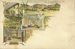 norway norge, CHRISTIANIA, Grand Hotel, Multiview (1899) Litho Postcard