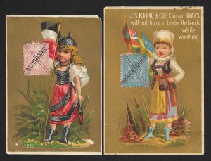 VICTORIAN TRADE CARDS (19) Stamps on Cards Various Countries