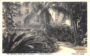 Nassau Bahamas Hotel New Colonial The Gardens Stamp RPPC Postcard
