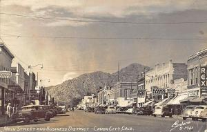 Canon City CO Business District Rex Theatre Old Cars Real Photo Postcard