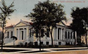 Evanston Illinois~Carnegie Library~1703 Orrington Avenue~Gone Now~1913 Postcard