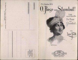 Beautiful Woman Fold Open Sheet Music O Rose von Stambul B Fischer Postcard