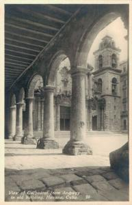 Cuba - View of Cathedral from Archway in old building Havana 02.18