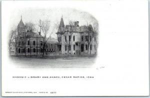 Cedar Rapids, Iowa Postcard Masonic Library & Annex c1900s Undivided Back