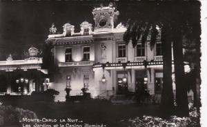 Monaco Monte Carlo Casino and Gardens At Night 1954 Photo