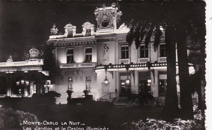 Monaco Monte Carlo Casino and Gardens At Night 1954 Photo
