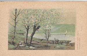 View of house next ot lake, White flowered tree, Sail boat & row boat, PU-1945