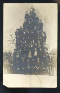 RPPC FARIBAULT MINNESOTA UNIVERSITY HUMAN PYRAMID REAL PHOTO POSTCARD 1907