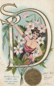 SOUTH DAKOTA, PU-1907; State Girl, Seal and Flower, Anemone