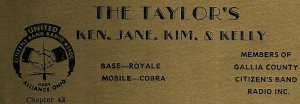 Vintage QSL Postcard KRM 4068 Pomeroy, Ohio  Ken, Jane, Kim, & Kelly Taylor  -T-