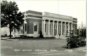 SPENCER, Iowa RPPC Real Photo Postcard POST OFFICE Building / Street View c1940s