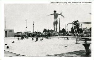 Vtg Postcard Community Swimming Pool Harleysville PA Diver Swimmers UNP