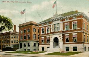 CT - Ansonia. Main Street, City Hall