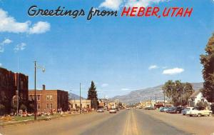 Heber Utah Greetings Street View Vintage Postcard K36327