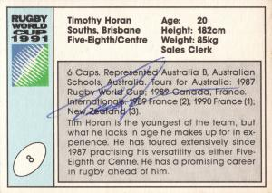 Timothy Horan Australia Hand Signed Rugby 1991 World Cup Card Photo