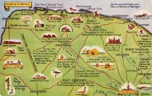 Map Postcard, North Norfolk, Norwich, King's Lynn by J. Salmon 28S
