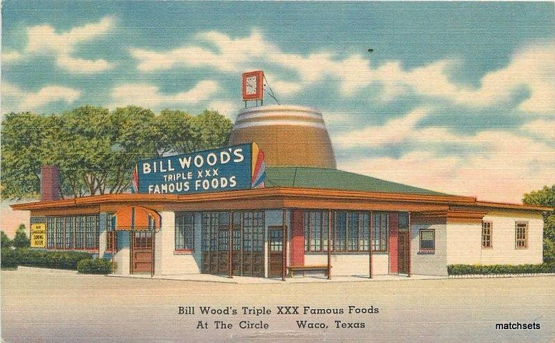 1946 Bill Woods Triple Xxx Restaurant Waco Texas Tichnor Postcard