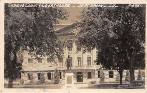 Jefferson Iowa~Greene County Court House~Statue in Front~Car~1940s RPPC