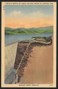 Sketch of Cable Car & Tracks Fontana Dam North Carolina Unused c1930s