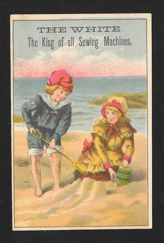 VICTORIAN TRADE CARD White Sewing Machine Kids at the Beach