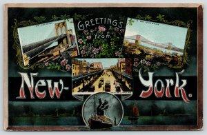 New York City~East River Bridge~Bowery~Elevated RR~1908 Large Letter Art Nouveau