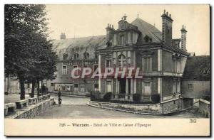 Old Postcard Bank city of Vierzon Hotel and Caisse d & # 39Epargne