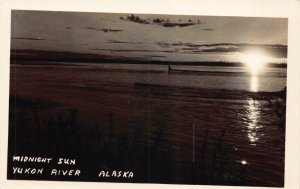 Real Photo Postcard Midnight Sun on the Yukon River, Alaska~130726