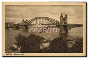 Old Postcard Bonn Rheinbrucke Boat