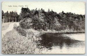 Chetek Wisconsin~Winding Dirt Road Around Lake~1922 Blue Sky Postcard