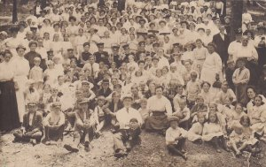 Huge Group of People Real Photo Postcard RPPC Family Reunion N23