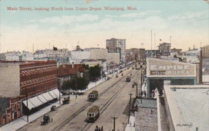 Canada Winnipeg Trolleys On Main Street Looking North From Union Depot 1911