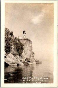 MINNESOTA Lake Superior RPPC Postcard SPLIT ROCK LIGHTHOUSE North Shore Drive